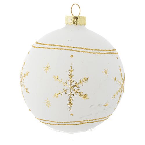 Palla Albero Natale 80 mm vetro bianco glitter oro 3
