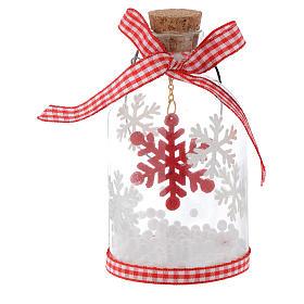 Adorno Árbol de Navidad botella de vidrio h 10 cm s2