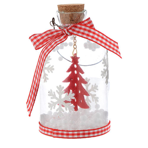 Décoration Sapin Noël bouteille verre h 10 cm 1