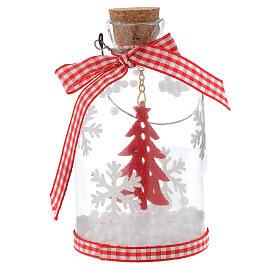 Appendino Albero Natale bottiglia vetro h 10 cm s1