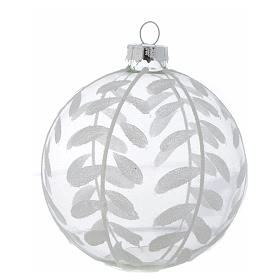 Glass Christmas bauble, transparent with white decoration, 80mm diameter s2