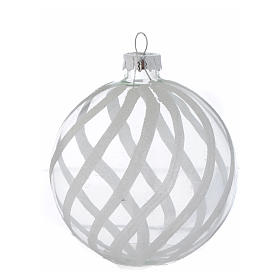 Glass Christmas bauble, transparent with white decoration, 80mm diameter s3