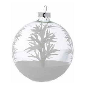 Glass Christmas bauble, transparent with white decoration, 80mm diameter s4