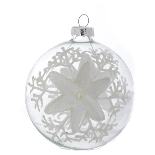 Glass Christmas bauble, transparent with white decoration, 80mm diameter 1