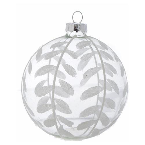 Glass Christmas bauble, transparent with white decoration, 80mm diameter 2