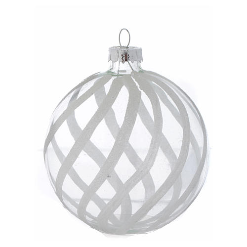 Glass Christmas bauble, transparent with white decoration, 80mm diameter 3