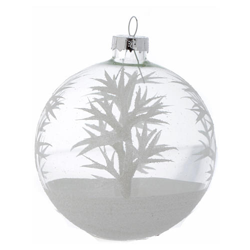 Glass Christmas bauble, transparent with white decoration, 80mm diameter 4
