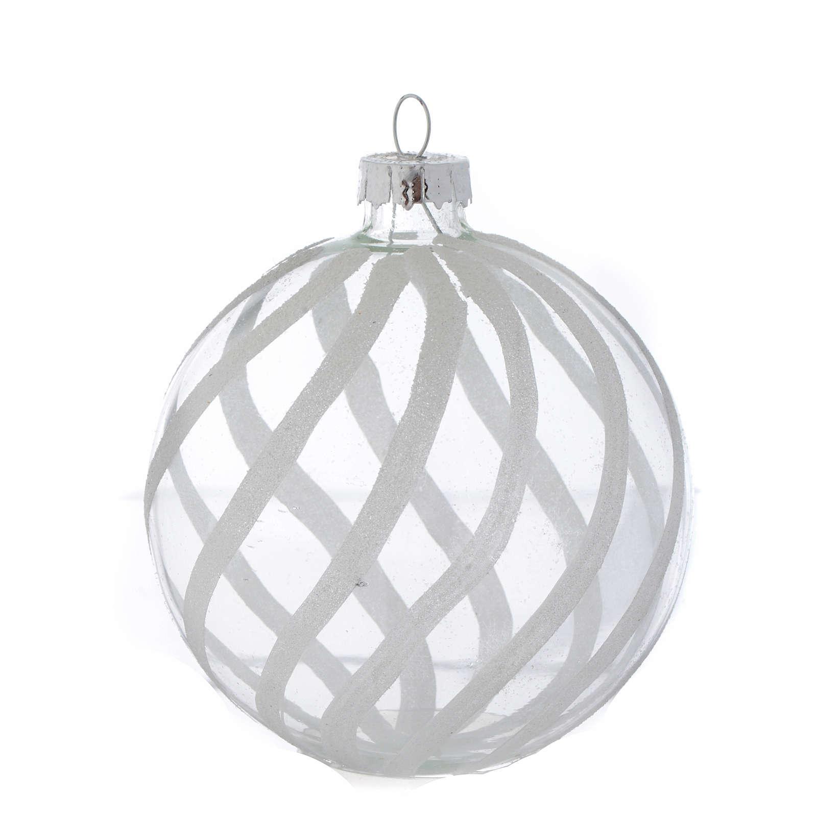 Palla Vetro Albero Natale 80 mm trasparente decori bianchi 4