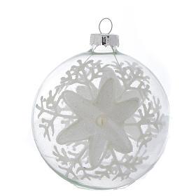 Palla Vetro Albero Natale 80 mm trasparente decori bianchi s1