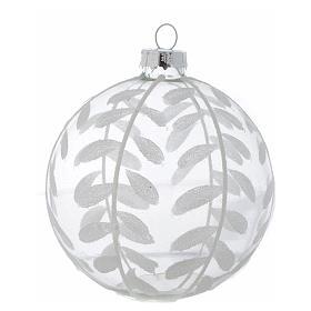 Palla Vetro Albero Natale 80 mm trasparente decori bianchi s2