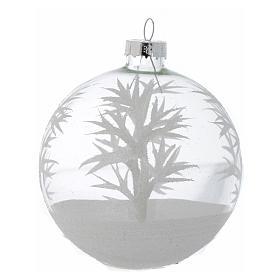 Palla Vetro Albero Natale 80 mm trasparente decori bianchi s4