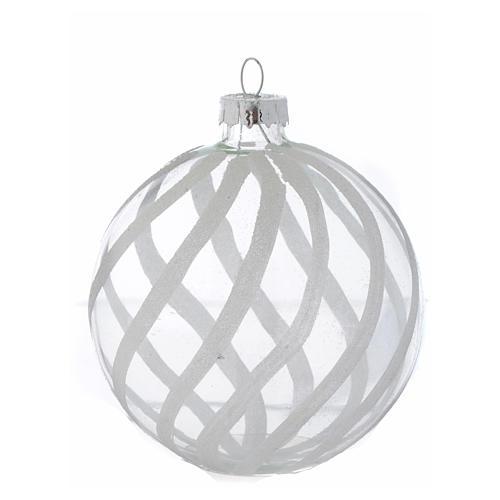Palla Vetro Albero Natale 80 mm trasparente decori bianchi 3
