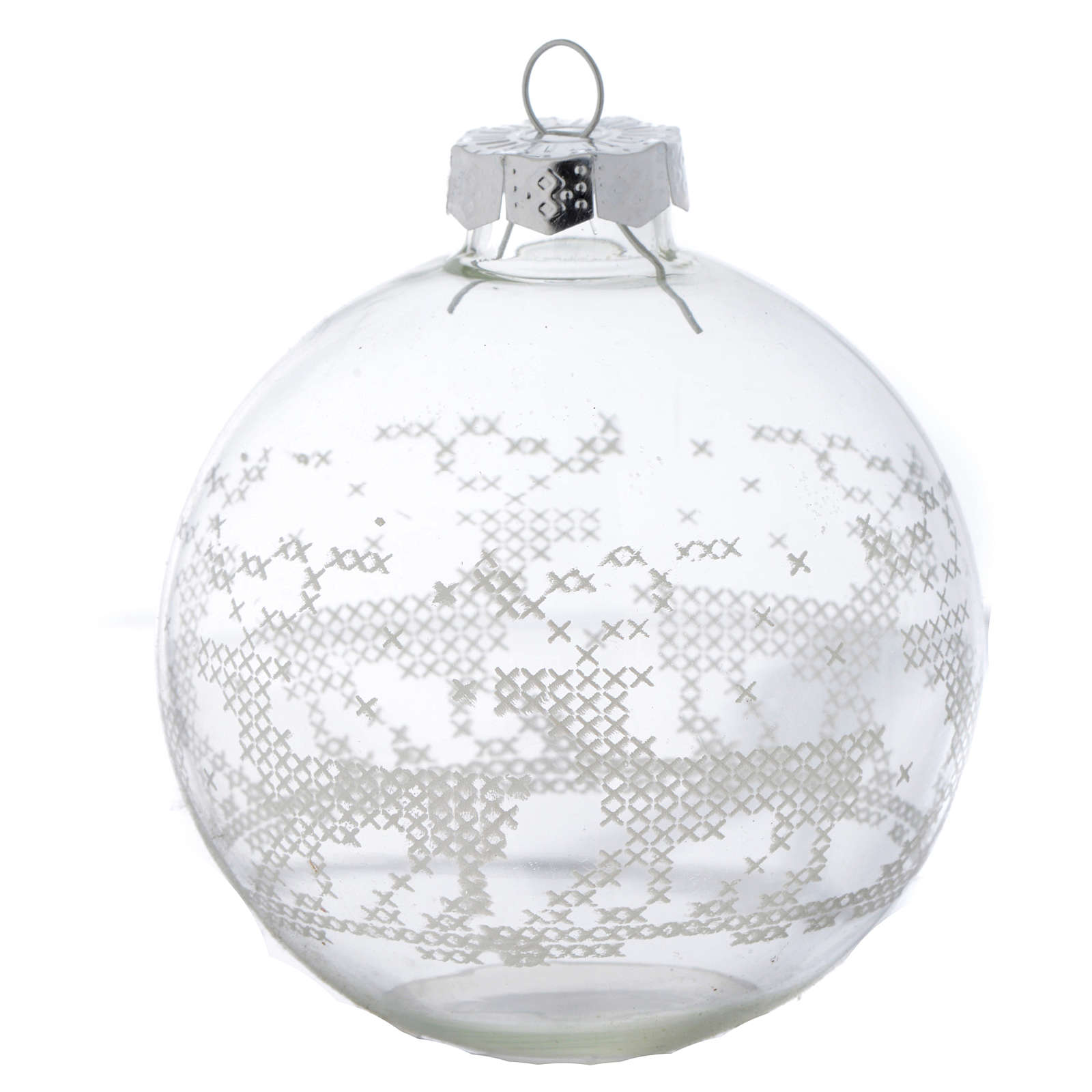 Glass Christmas bauble, with white decoration, 80mm diameter 4