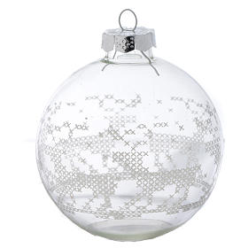 Glass Christmas bauble, with white decoration, 80mm diameter s1