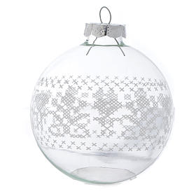 Glass Christmas bauble, with white decoration, 80mm diameter s2