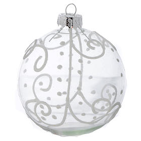 Glass Christmas bauble, with white decoration, 80mm diameter s3
