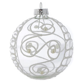 Glass Christmas bauble, with white decoration, 80mm diameter s4