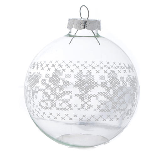 Glass Christmas bauble, with white decoration, 80mm diameter 2