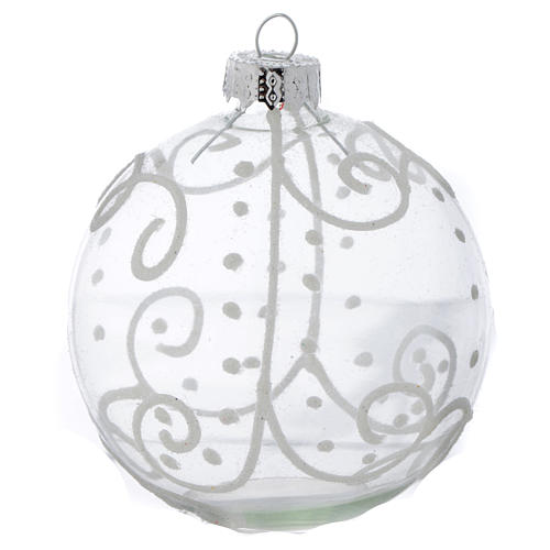 Glass Christmas bauble, with white decoration, 80mm diameter 3