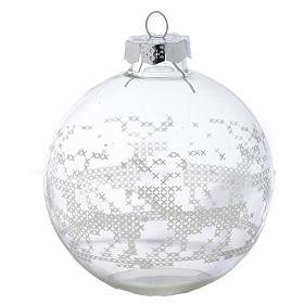 Palla Vetro Albero Natale 80 mm con decori bianchi s1