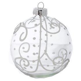 Palla Vetro Albero Natale 80 mm con decori bianchi s3
