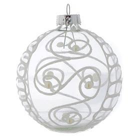 Palla Vetro Albero Natale 80 mm con decori bianchi s4