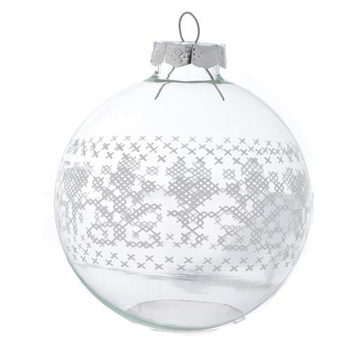 Palla Vetro Albero Natale 80 mm con decori bianchi 2
