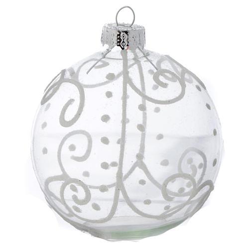 Palla Vetro Albero Natale 80 mm con decori bianchi 3