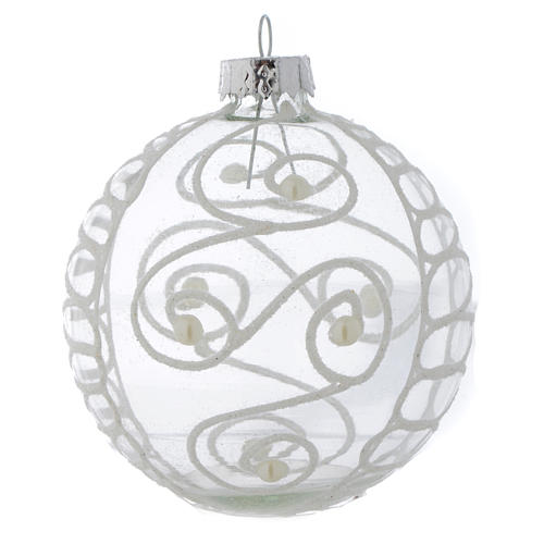 Palla Vetro Albero Natale 80 mm con decori bianchi 4