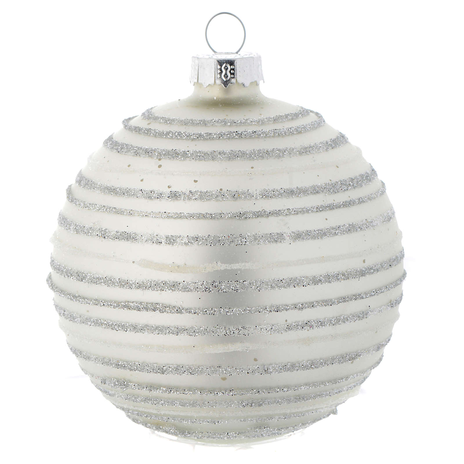 Silver white Christmas bauble with decoration, 80mm diameter 4