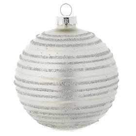 Silver white Christmas bauble with decoration, 80mm diameter s1