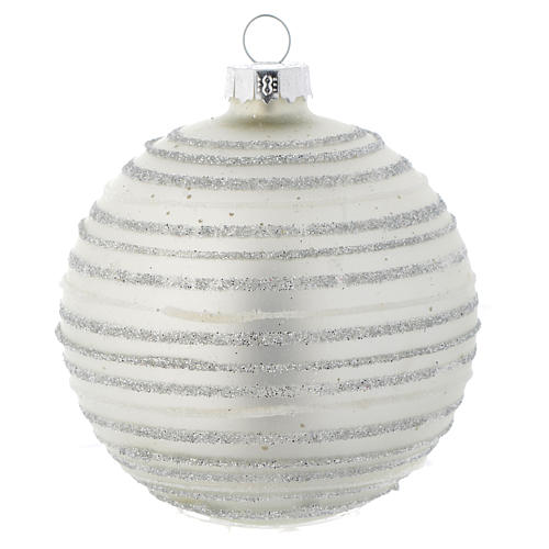 Silver white Christmas bauble with decoration, 80mm diameter 1
