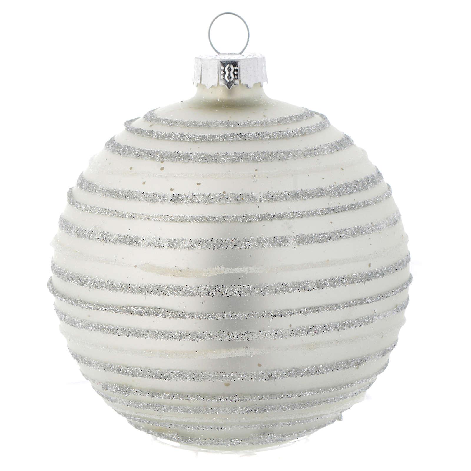Palla vetro 80 mm Albero di Natale bianco silver 4