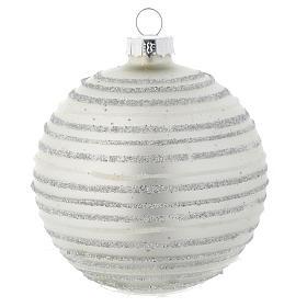 Palla vetro 80 mm Albero di Natale bianco silver s1