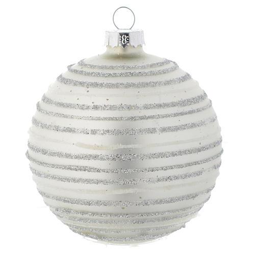Palla vetro 80 mm Albero di Natale bianco silver 1