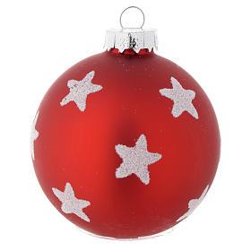 Palla vetro rossa 70 mm per albero di Natale s2