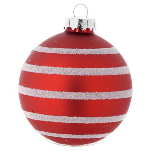 Palla vetro rossa 70 mm per albero di Natale 1