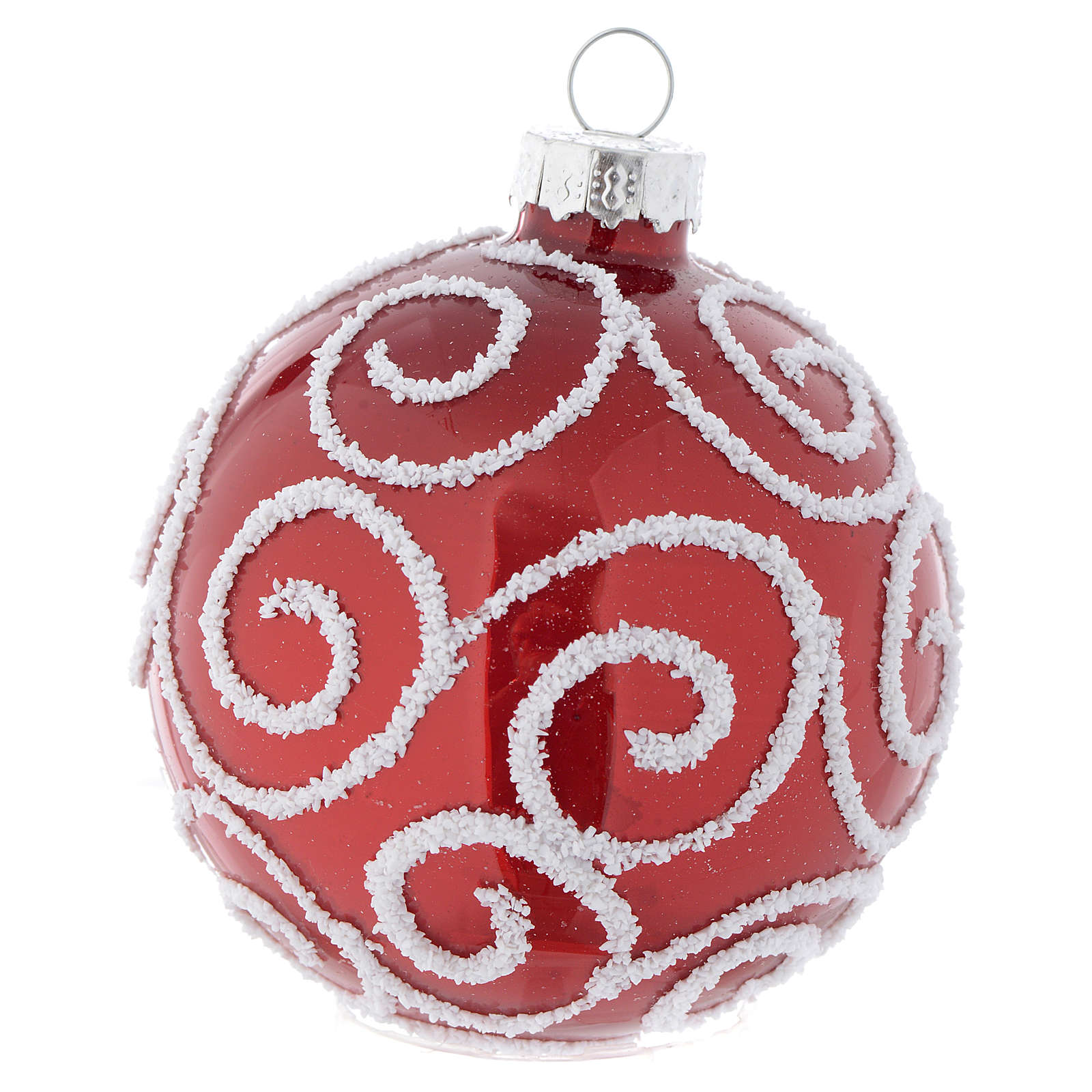 Red Christmas bauble in glass with decoration, 70mm diameter 4