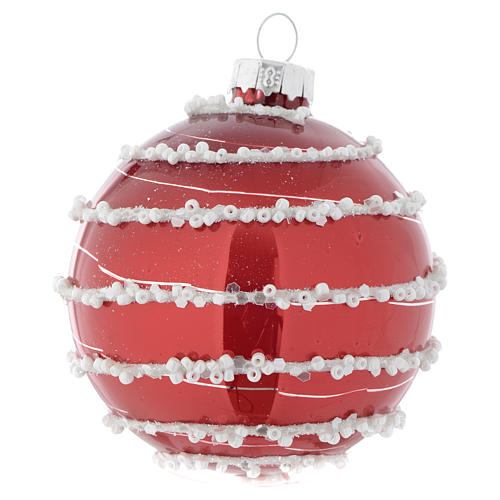 Red Christmas bauble in glass with decoration, 70mm diameter 1