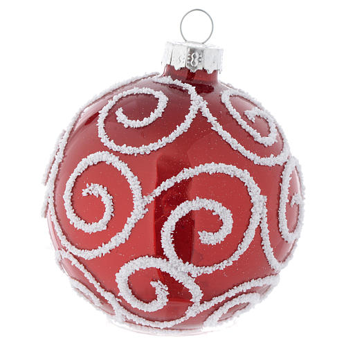 Red Christmas bauble in glass with decoration, 70mm diameter 2