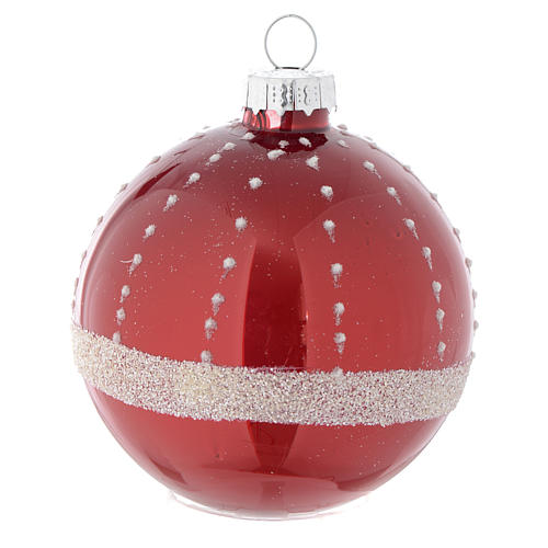 Red Christmas bauble in glass with decoration, 70mm diameter 3