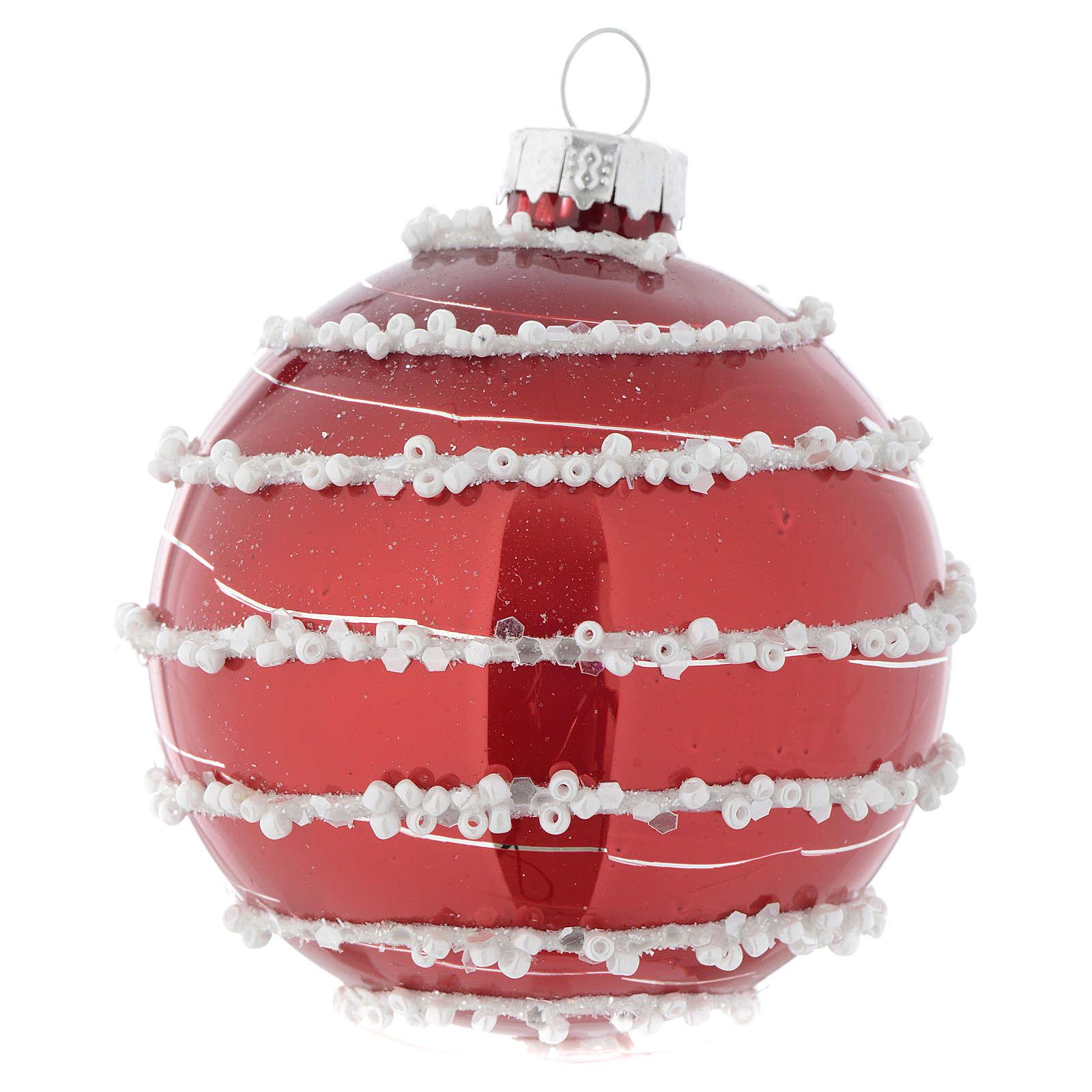 Bola vidrio rojo decorado 70 mm para árbol de Navidad 4