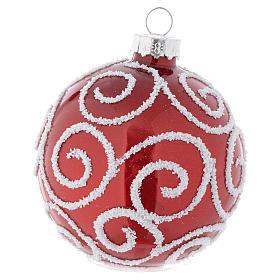 Palla vetro rossa decorata 70 mm per albero di Natale s2