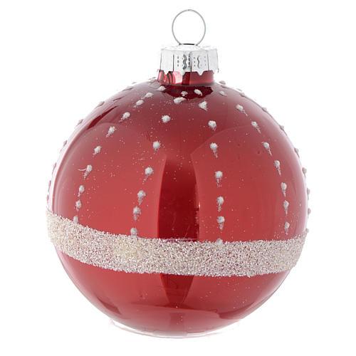 Palla vetro rossa decorata 70 mm per albero di Natale 3