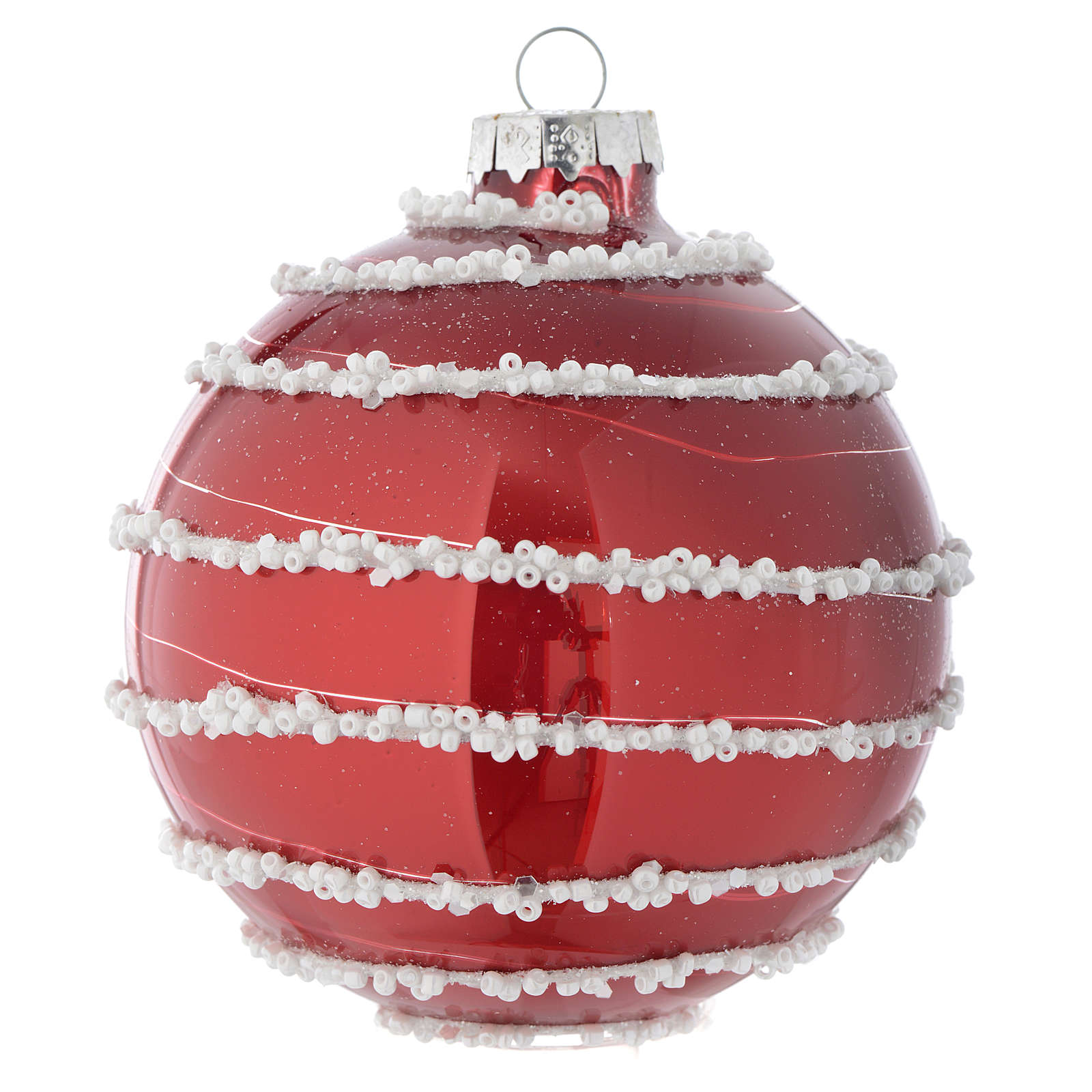 Red Christmas bauble in glass with decoration, 90mm diameter 4