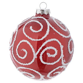 Red Christmas bauble in glass with decoration, 90mm diameter s1