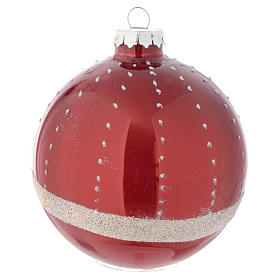 Red Christmas bauble in glass with decoration, 90mm diameter s3