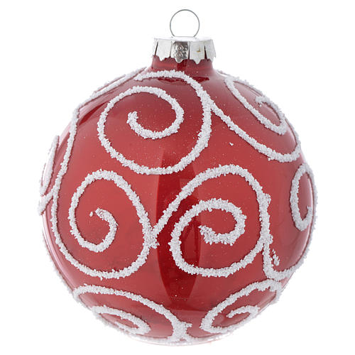 Red Christmas bauble in glass with decoration, 90mm diameter 1