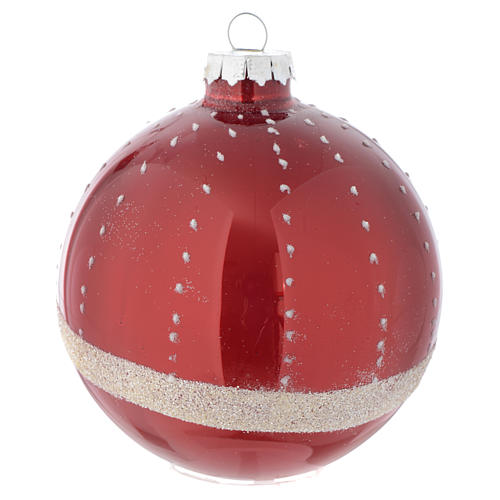 Red Christmas bauble in glass with decoration, 90mm diameter 3