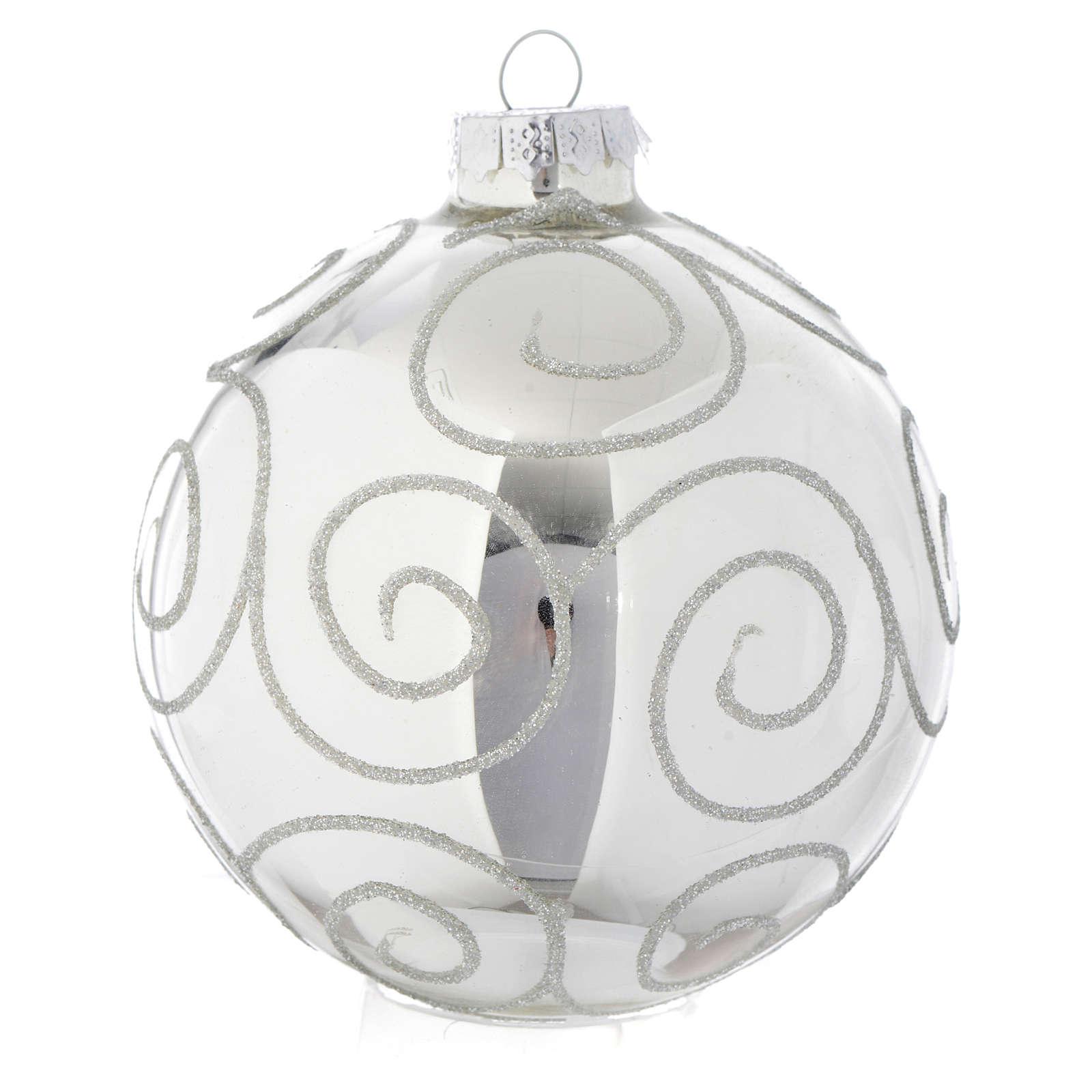 Tannenbaumkugel Silber mit Dekorationen 90mm 4